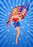 Blonde patriotische Frau Pin-oben Stockfotografie
