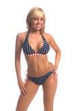 Blonde patriottico del bikini Fotografia Stock Libera da Diritti