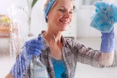 Blonde, perfect housewife Royalty Free Stock Photos