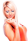 Blonde with perfume Royalty Free Stock Image