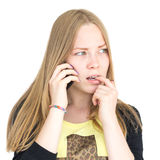 Blonde with the phone Royalty Free Stock Photography