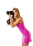 Blonde photographing Royalty Free Stock Photos