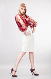 Blonde pin up actress in blouse Royalty Free Stock Photo