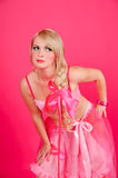 Blonde in pink Stock Photo