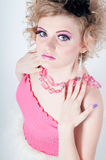 Blonde in pink Stock Photos