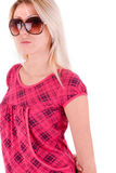 Blonde in a pink dress Stock Photography