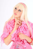 Blonde in a pink dress Stock Photo