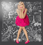 Blonde In Pink Dress Against Love Background Royalty Free Stock Photo