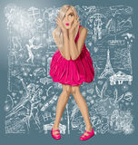 Blonde In Pink Dress Against Love Background Stock Photos