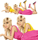 Blonde in pink lies on a floor Royalty Free Stock Photography
