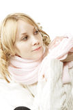Blonde in pink looking aside Stock Photo