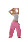 Blonde in pink sportswear Stock Photos