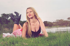 Blonde playing French Pin-up girl Royalty Free Stock Photo