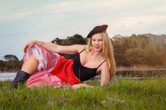Blonde playing French Pin-up girl Stock Images