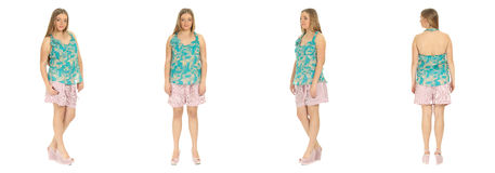 Blonde Plus size woman posing in shorts for a fashion editorial. Blonde Plus size woman, a model, posing in shorts for a fashion editorial Royalty Free Stock Photography