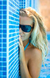 Blonde in the pool Royalty Free Stock Photography