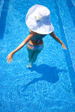 Blonde in the pool Stock Images