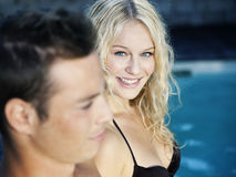 Blonde in the pool Stock Photos