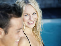 Blonde in the pool Royalty Free Stock Image