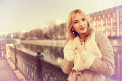 Blonde portrait in the city Stock Images