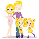 Blonde Posh Family. Blonde posh parents with twin daughters happily smiling together looking at front Stock Images