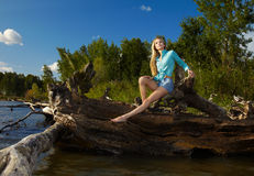 Blonde posing near flotsam Stock Photo