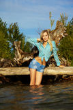Blonde posing near flotsam Stock Photography