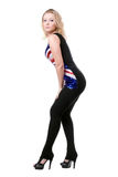 Blonde posing in union-flag shirt Stock Photography