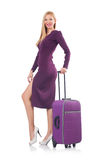 Blonde preparing for vacation with suitcase Royalty Free Stock Image