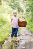 Blonde preschool little girl picking fresh edible mushrooms Stock Image