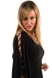 Blonde. Pretty petite blonde woman in black long sleeved blouse Royalty Free Stock Photos