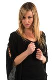 Blonde. Pretty petite blonde woman in black long sleeved blouse Royalty Free Stock Photo