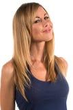 Blonde. Pretty petite blonde woman in a blue dress Royalty Free Stock Photo