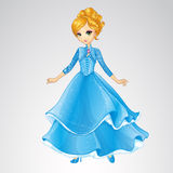 Blonde Princess In Blue Fashion Dress. Vector illustration of beautiful princess in fashion blue dress from fairytale stock illustration
