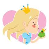 Blonde Princess Kissing Frog. Profile portrait of a beautiful blonde little princess kissing cute green frog happy Royalty Free Stock Image