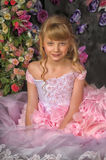 Blonde princess in a pink dress Royalty Free Stock Photography