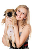 Blonde with a puppy stock photography