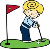 Blonde Putter Boy Royalty Free Stock Images
