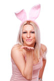 Blonde with rabbit ears, send kiss Stock Photography