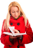 Blonde reads book Stock Photos