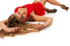 Blonde in red Royalty Free Stock Image
