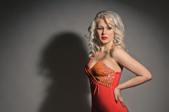 Blonde in red Royalty Free Stock Photography