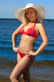 Blonde in red bikini Royalty Free Stock Photography