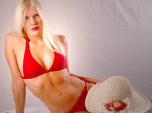 Blonde in red bikini Royalty Free Stock Photos