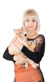 The blonde with a red cat Stock Photo