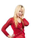 The blonde in red clothes Royalty Free Stock Image