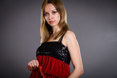 Blonde in red dress Royalty Free Stock Photography