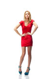 Blonde in red dress Stock Images