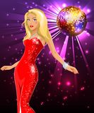 Blonde in a red dress at a disco Stock Photography