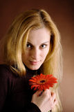 Blonde with a red flower Stock Images
